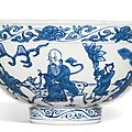 A blue and white, 'Shoulao' bowl, Mark and period of Wanli