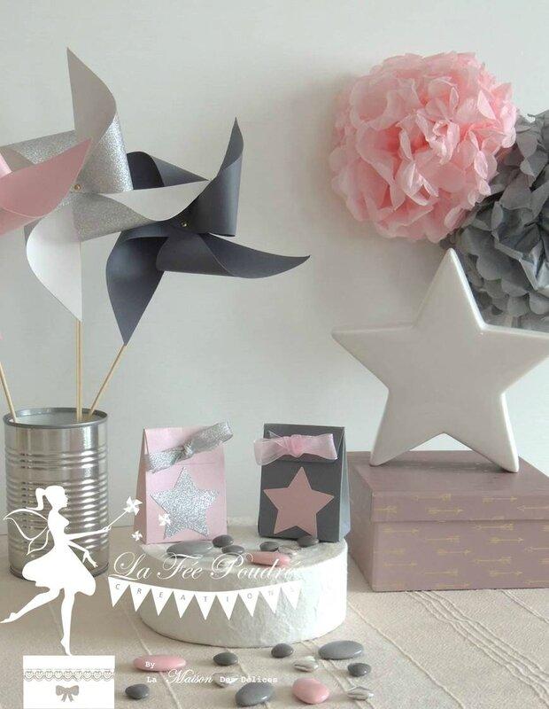 boite dragees bapteme contenant mariage rose poudre theme etoile gris argent4