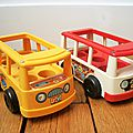 Bus school & mini bus fiher price vintage