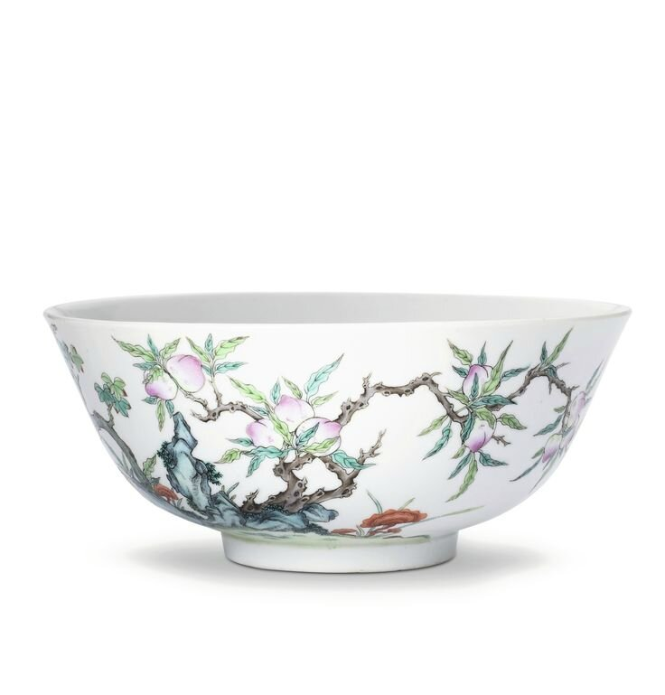 A large famille-rose 'Peach' bowl, Seal mark and period of Daoguang