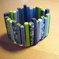 bracelet mini plaque vert gris