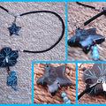 Collier fleur noire turquoise 2