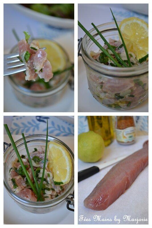 Bonite marinée citron huile d'olive et piment d'Espelette