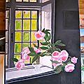 - huile sur toile - 80x 60 - bouquet de roses.