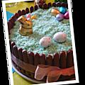 Dessert de pâques {gâteau mousse chocolat et compote de mangue}