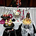 Ma sweet table en rose et noir pour Halloween - Halloween Dessert table - Black and Pink halloween a little Hello Kitty