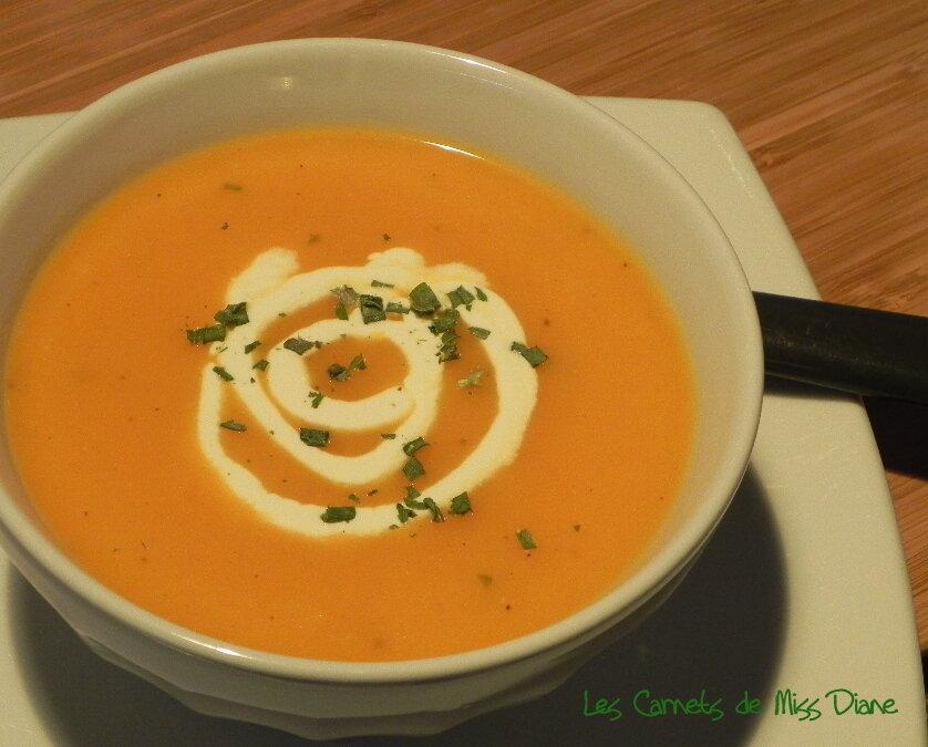 Velouté de carottes, poires et gingembre, sans gluten et sans lactose