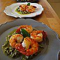 Crevettes au pesto de pistaches et de menthe