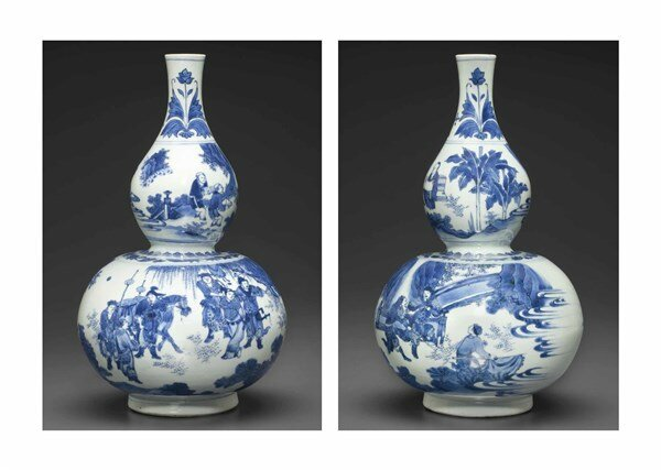 A blue and white double gourd-form vase, Transitional period, circa 1640-1650