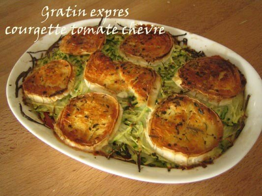 gratin express courgette tomate ch vre au bain de marie. Black Bedroom Furniture Sets. Home Design Ideas
