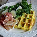Gaufres salées aux pommes de terre, herbes aromatiques et parmesan