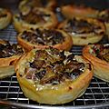 Mini tartes thon, curry, champignons