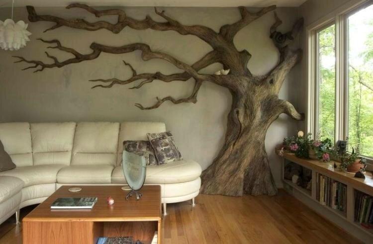 décoration-bois-tronc-arbre-salon-déco-murale-origianle