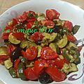 Salade de courgettes,tomates, olives et pignons