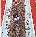 Bûche de noël : gâteau roulé au chocolat praliné