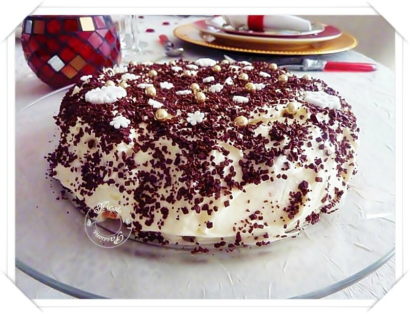Dernière recette de l'année: Gâteau léger aux framboises, crème pâtissière et chantilly au nougat.....