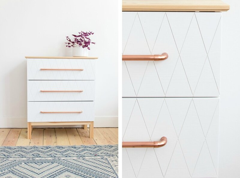 IKEA-Hack-Brakig-dresser-geo-cut-white-paint-and-copper-handles-DIY-Auguste-et-Claire-960x711