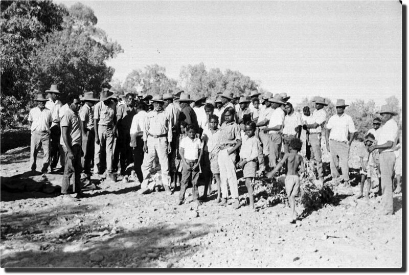 Striking Gurindji stockmen and their families with Dexter Daniels in 1966 Source: Photograph courtesy Brian Manning and the Kalkaringi/Daguragu Freedom Day web site.
