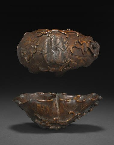 A rhinoceros horn lotus form libation cup, 17th-18th century
