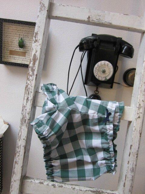 Culotte BIANCA en coton gros vichy vert - noued marine (3)