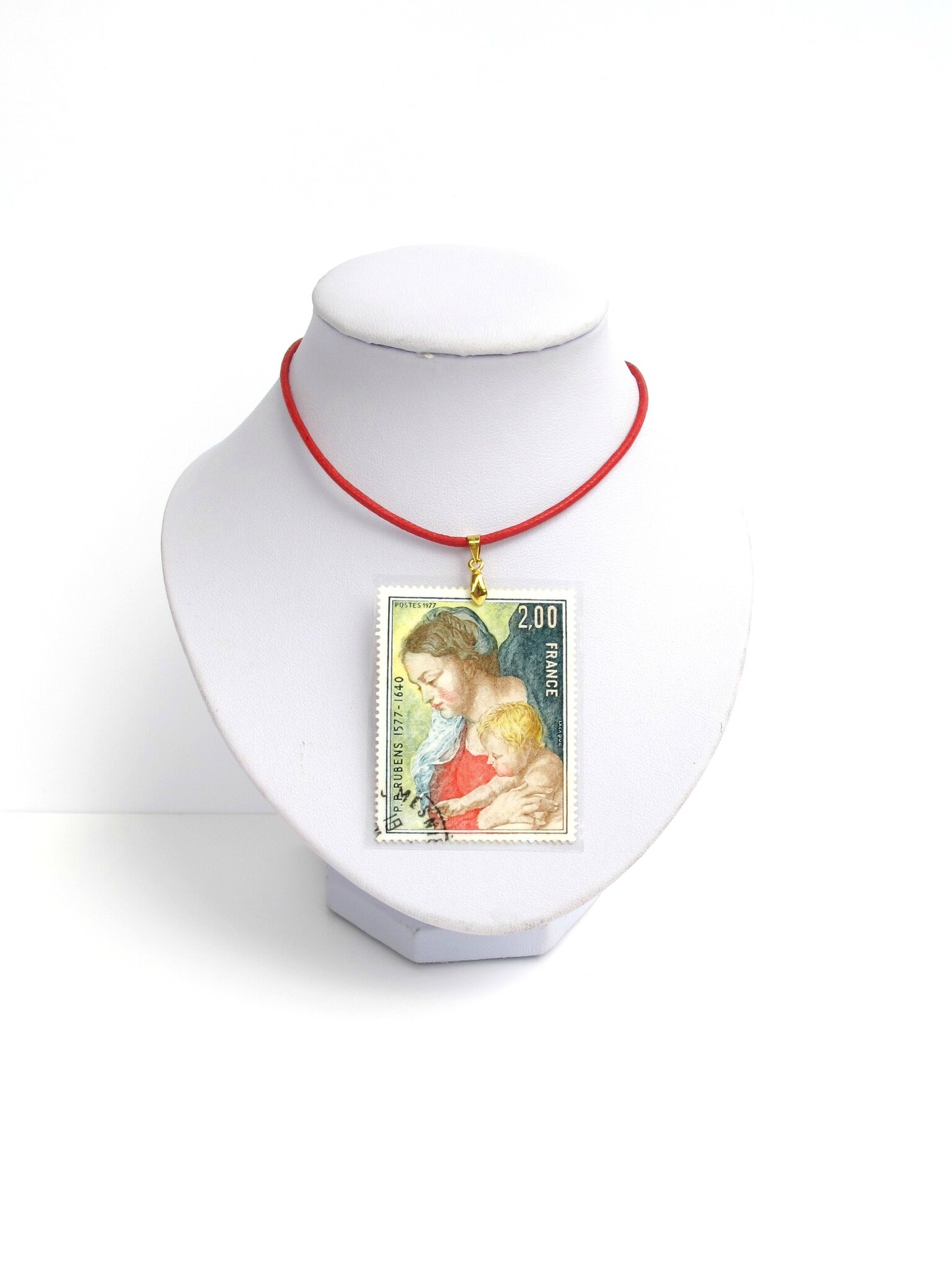 pendentif timbre vierge à l'enfant Rubens