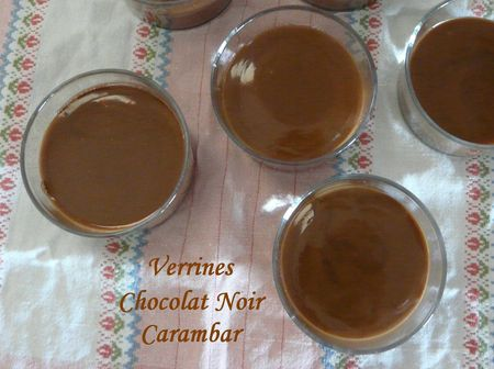 Verrines chocolat noir carambar