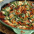 Une recette à découvrir absolument : gratin de patates douces fondant & croustillant, sauce coco pimentee