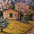 Cabanon dans les Alpilles et amandiers fleuris/Format 8F(46x38) 340€/ Atelier A.Rivière