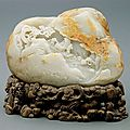 A carved jade boulder