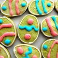 Sablés à la pistache pour pâques... lapins, oeufs, poussins colorés pour le plaisir des cocos !