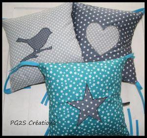 Tour de lit coussins gris et turquoise 2
