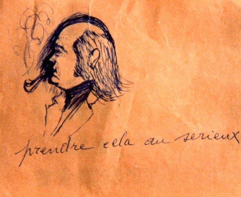 J-M Martin, dessin d'un élève à la Catho -1973