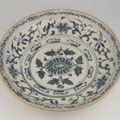 Basin, Vietnam, 15th - 16th century. Artist/maker unknown, Vietnamese. Glazed porcelain with underglaze cobalt blue floral decoration, 3 3/8 x 14 7/8 inches (8.6 x 37.8 cm) 1966-218-1. Gift of Clayton B. Wentworth, 1966. Philadelpjia Museum of Art  2009 P