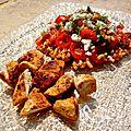Salade de pâtes aux trois tomates, poulet épicé