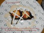 Croustillant au parmesan sur son confit d'oignons rouges, St Jacques et des allumettes de pomme Granny