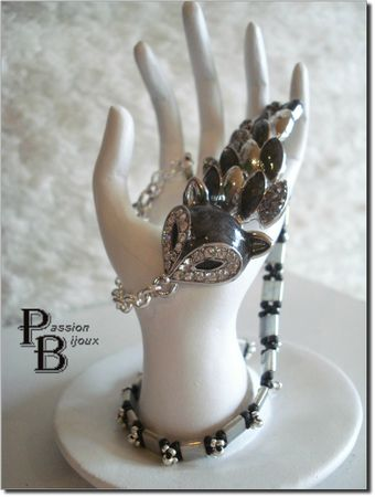 BRACELET RENARD NOIR &amp; ARGENT (45)BIS