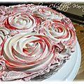 Gâteau framboises, chantilly-mascarpone décors effet roses