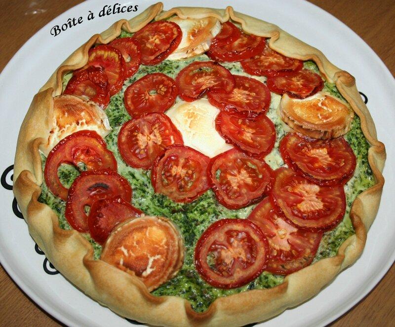 Tarte ricotta-épinard-chèvre-tomate de Croque-Tout