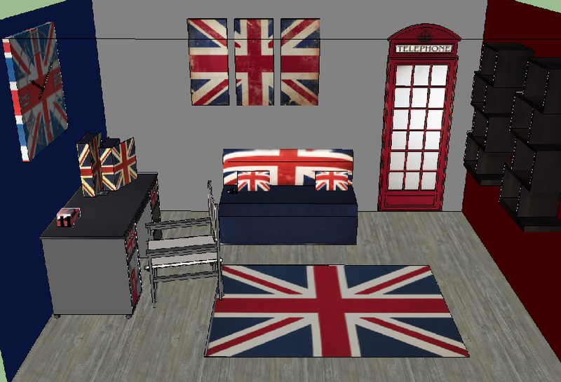D co chambre drapeau anglais - Decoration chambre london ...