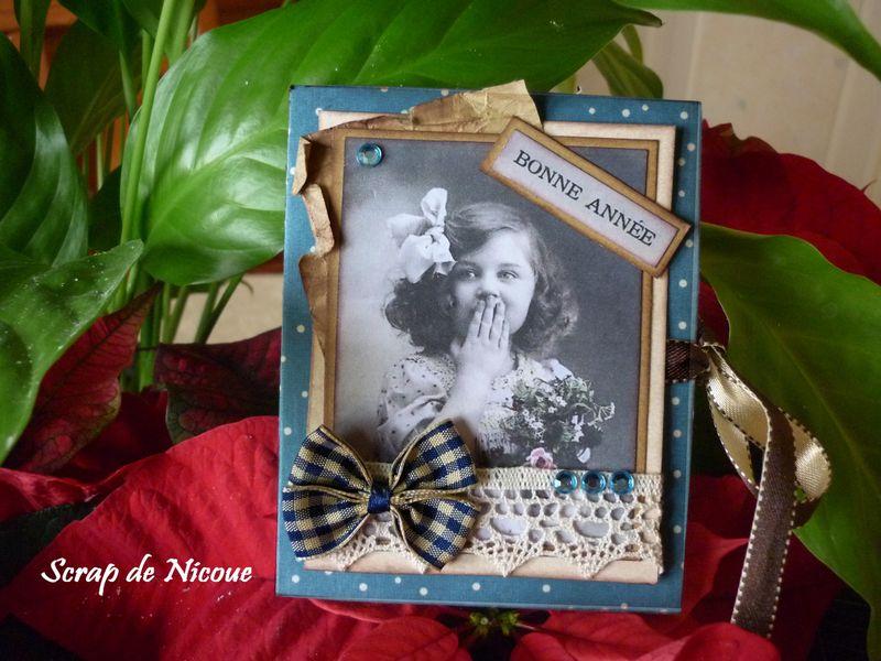 Mini-album vintage bleu couverture