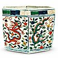 A wucai 'dragon' hexagonal box and a cover, Wanli mark and period, Collection of the National Palace Museum, Taipei