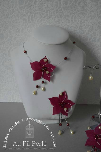 parure mariée mariage fleur soie perles nacrée bordeaux ivoire