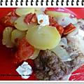Steaks de porc aux tomates, pommes de terre et feta ww