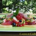Salade de fruits  l'huile d'olive et vinaigre balsamique 