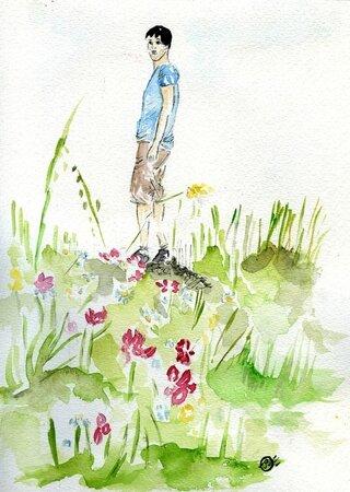 Pause dans les fleurs