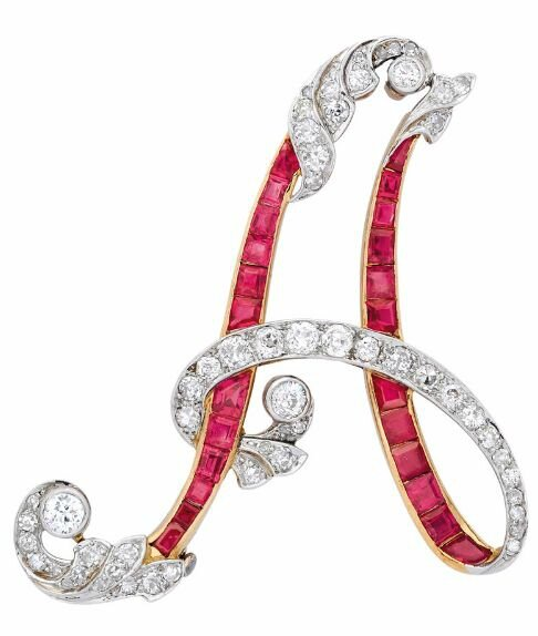 A Ruby and Diamond Brooch, circa 1920