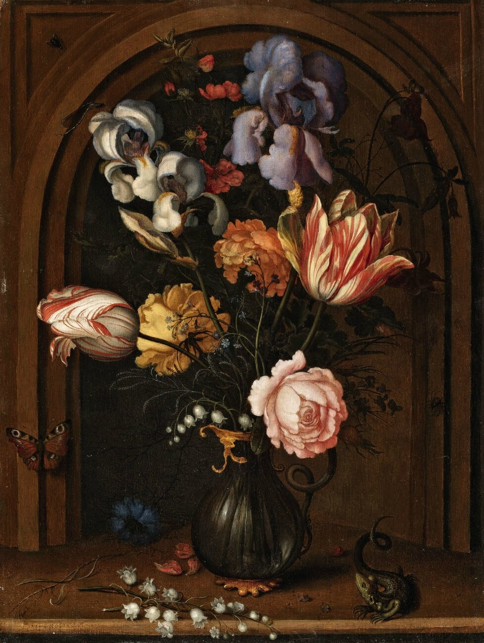 Balthasar van der Ast, A Vase of Flowers in a Niche with a Butterfly, Fly, Dragonfly and a Lizard