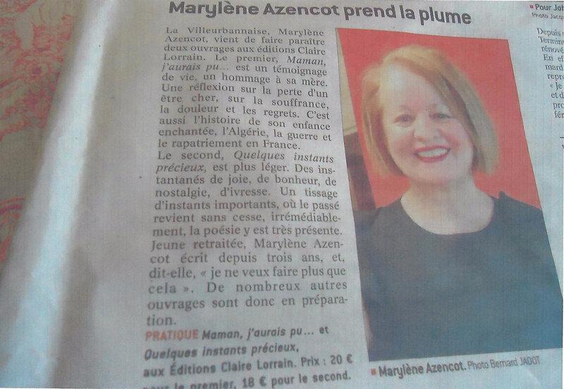 Marylène Azincot prend la plume