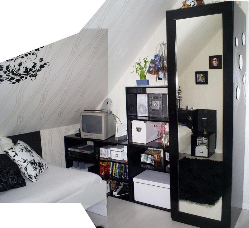 d coration d 39 int rieur chambre en noir et blanc kr attitude. Black Bedroom Furniture Sets. Home Design Ideas