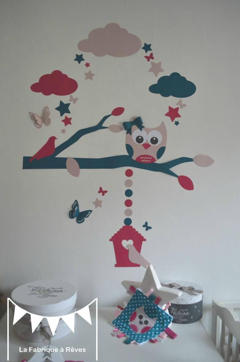 stickers hibou chouette arbre nichoir oiseaux papillons toiles bleu canard p trole fuchsia rose. Black Bedroom Furniture Sets. Home Design Ideas